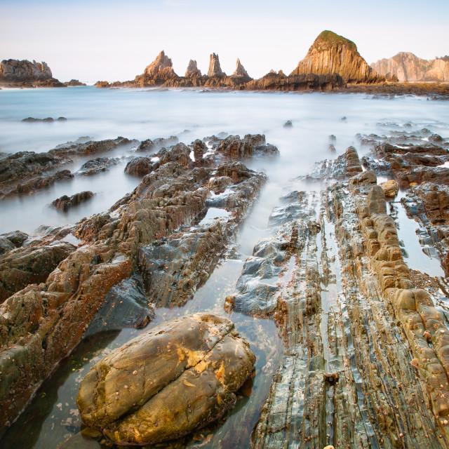 """Gueirua beach in Asturias, Spain."" stock image"