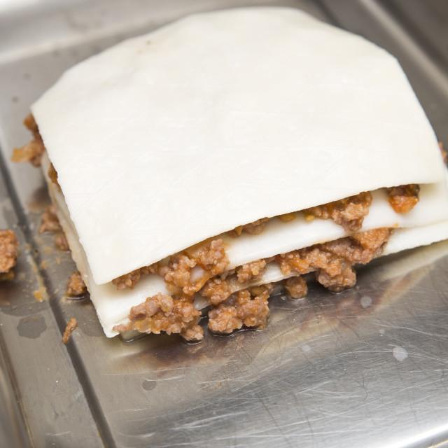 """""""lasagna prepared"""" stock image"""