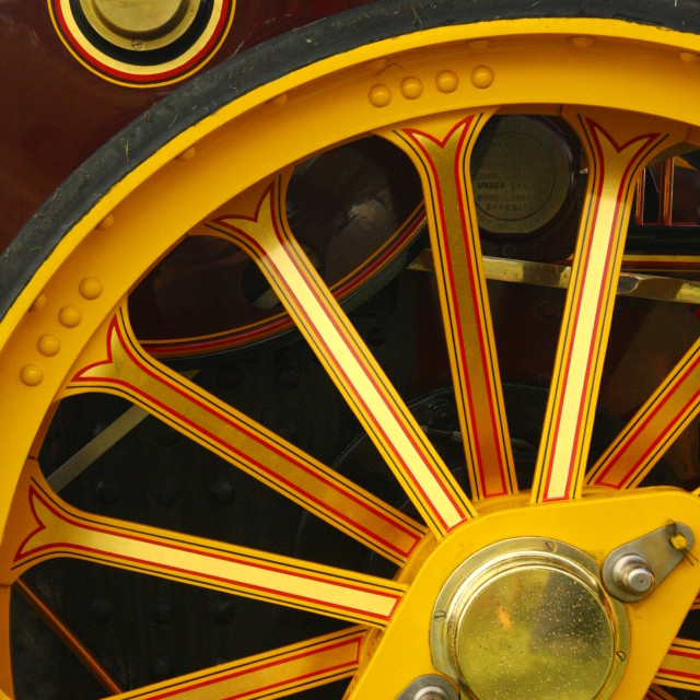 """""""Steam Traction Engine Wheel"""" stock image"""
