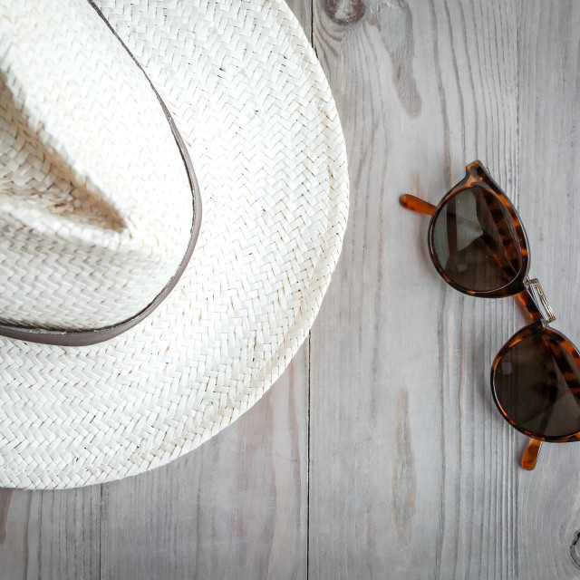 """Sunglasses and straw hat"" stock image"