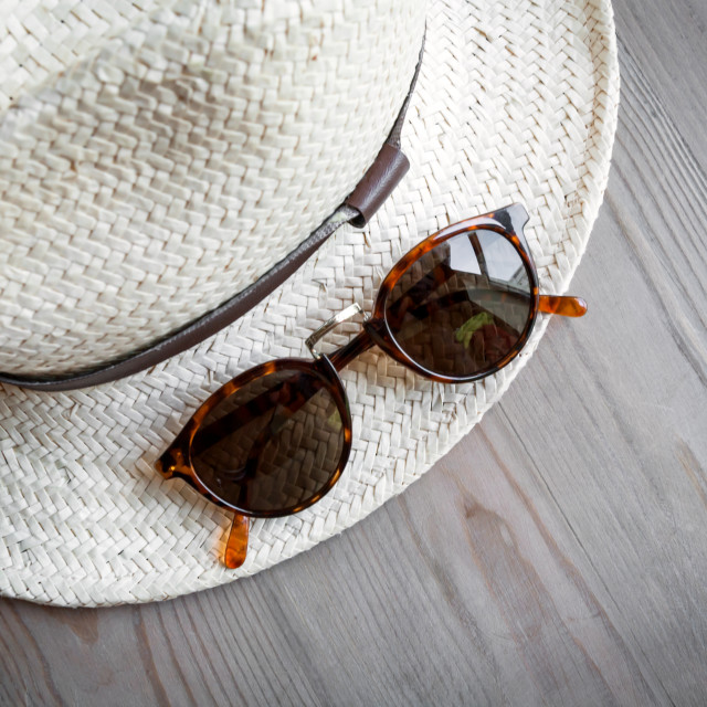 """Straw hat and sunglasses"" stock image"