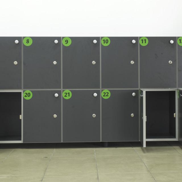 """Cabinets safes luggage"" stock image"