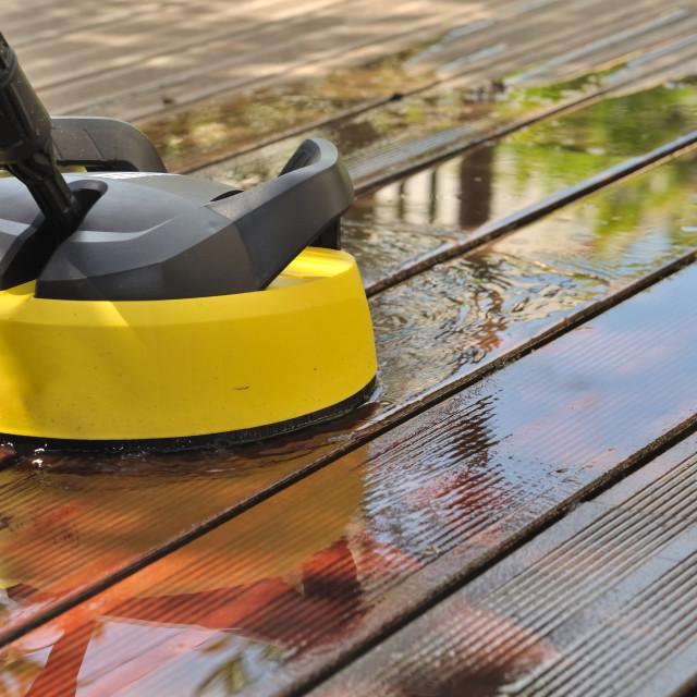 """washing wooden terrace"" stock image"