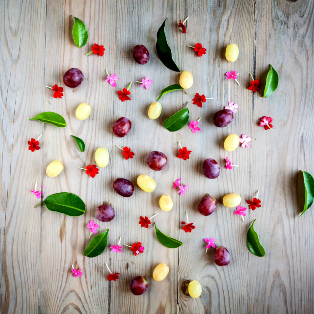 """Red grapes and white flowers"" stock image"