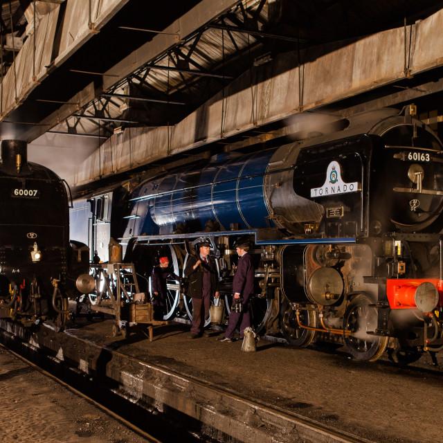 """""""Sir Nigel Gresley and Tornado"""" stock image"""