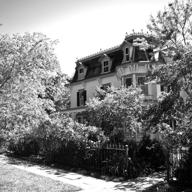 """""""house behind iron gates"""" stock image"""