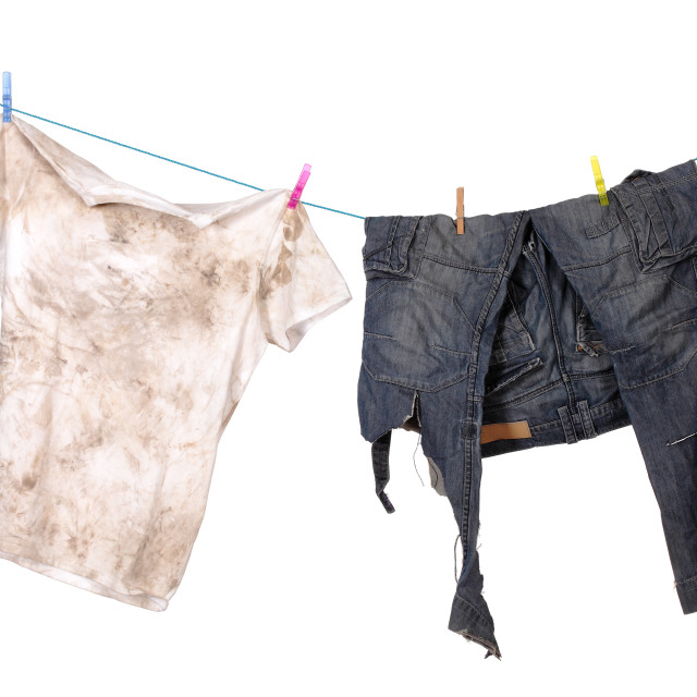 """""""dirty shirt and trousers"""" stock image"""
