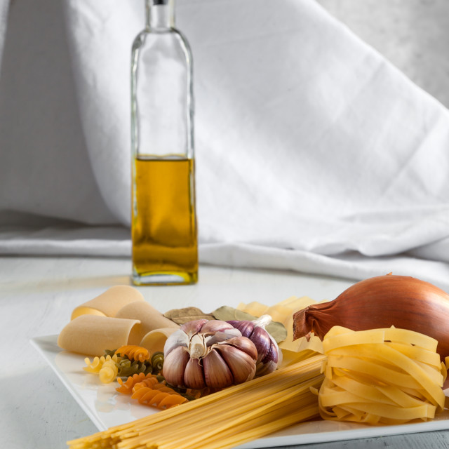 """Italian pasta with garlics and onion"" stock image"