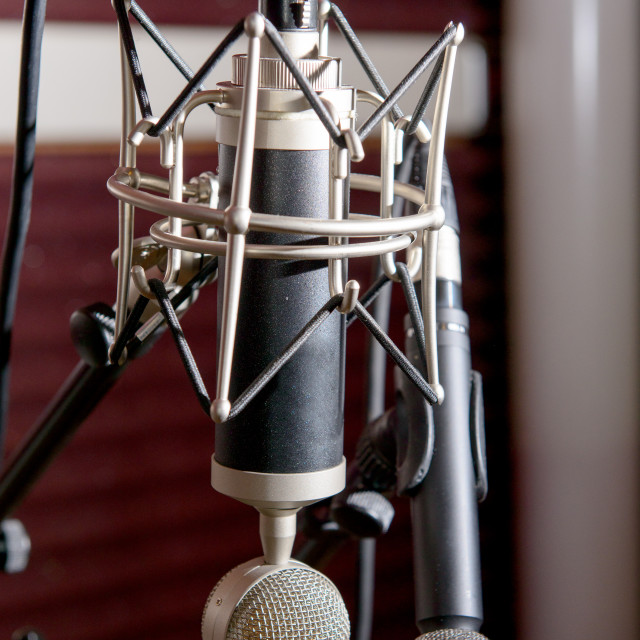 """professional microphones in a recording studio"" stock image"