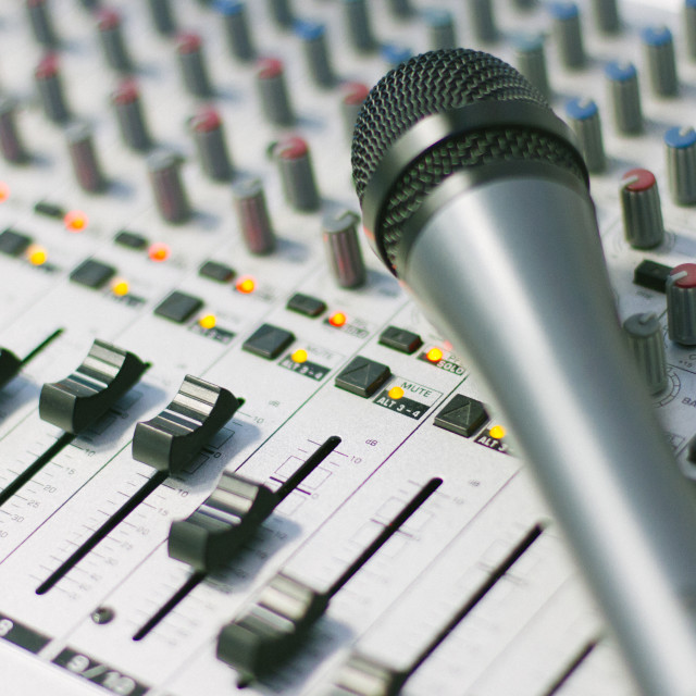 """Sound mixer with microphone"" stock image"