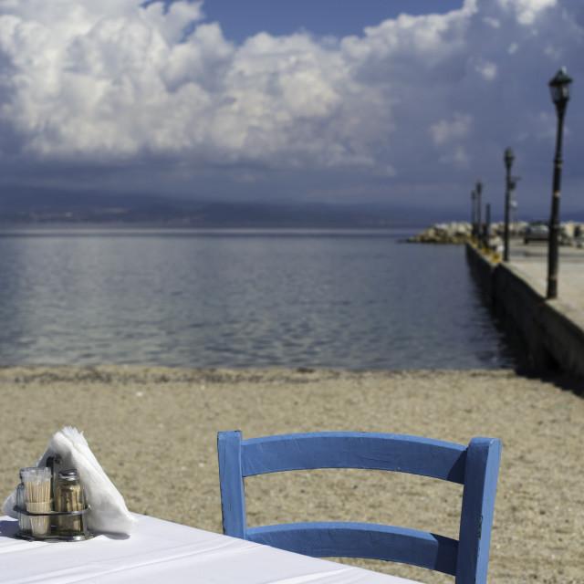 """Chair in greek taverna"" stock image"