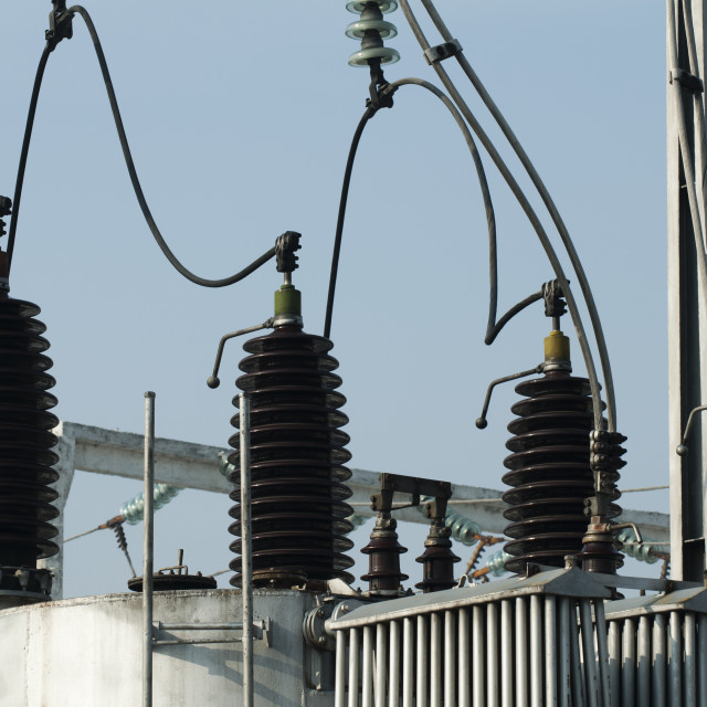 """""""High-voltage wires and transformers"""" stock image"""