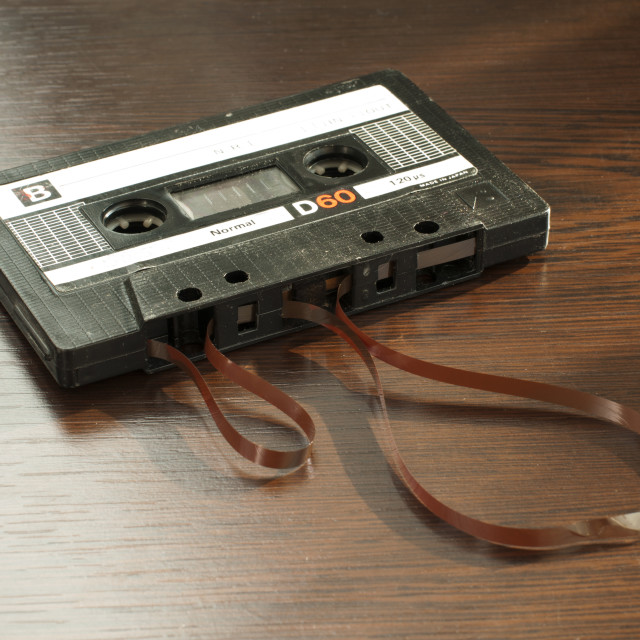 """Audio tape cassette with subtracted out tape"" stock image"