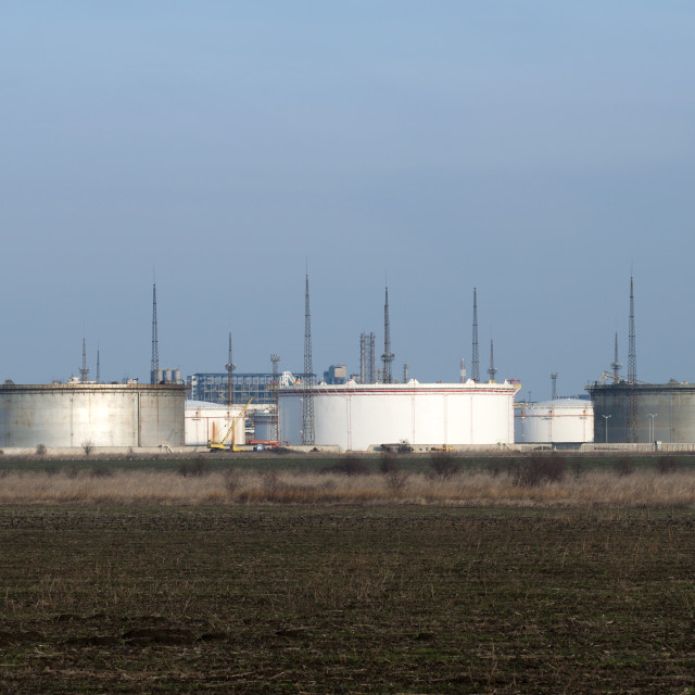 """""""Storage tanks of petroleum products"""" stock image"""