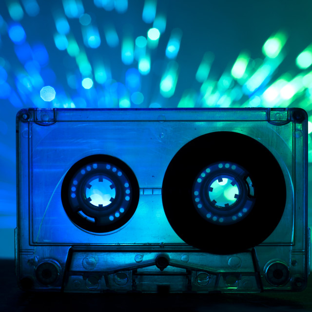 """""""Transparent Cassette tape and disco light background"""" stock image"""