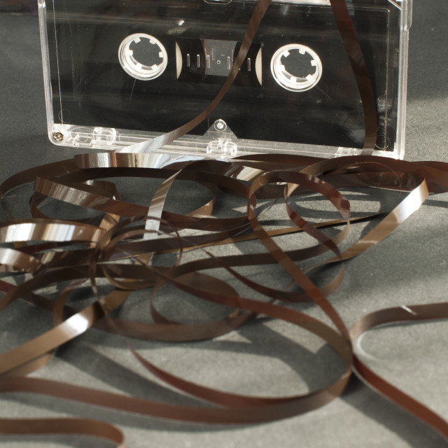"""""""Audio tape cassette with subtracted out tape"""" stock image"""