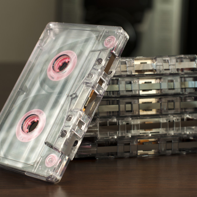 """""""Pile of audio tape cassettes"""" stock image"""