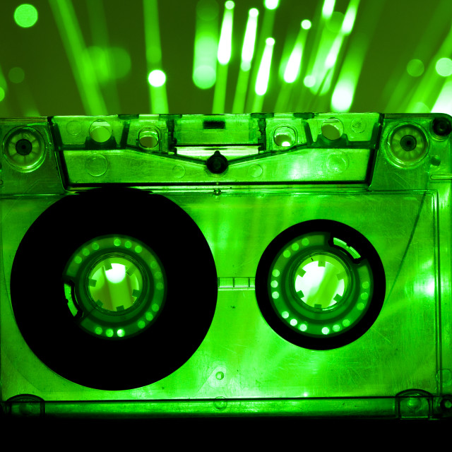 """Transparent Cassette tape disco lights background"" stock image"