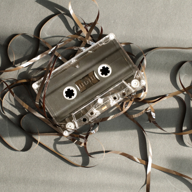 """Audio tape cassette with subtracted out tape."" stock image"