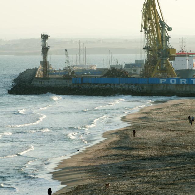 """Commercial port cranes"" stock image"
