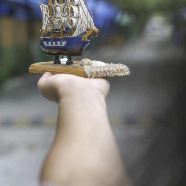 """Model of a sailing ship"" stock image"