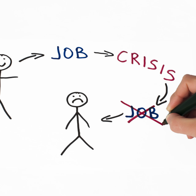 """Job and crisis conception illustration over white"" stock image"