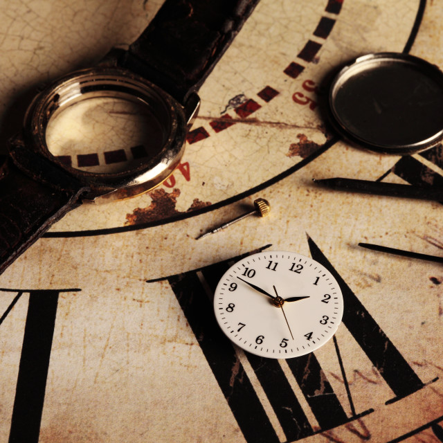 """""""repairing clock"""" stock image"""