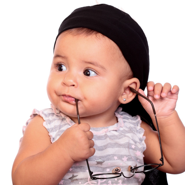 """baby and headscarf"" stock image"