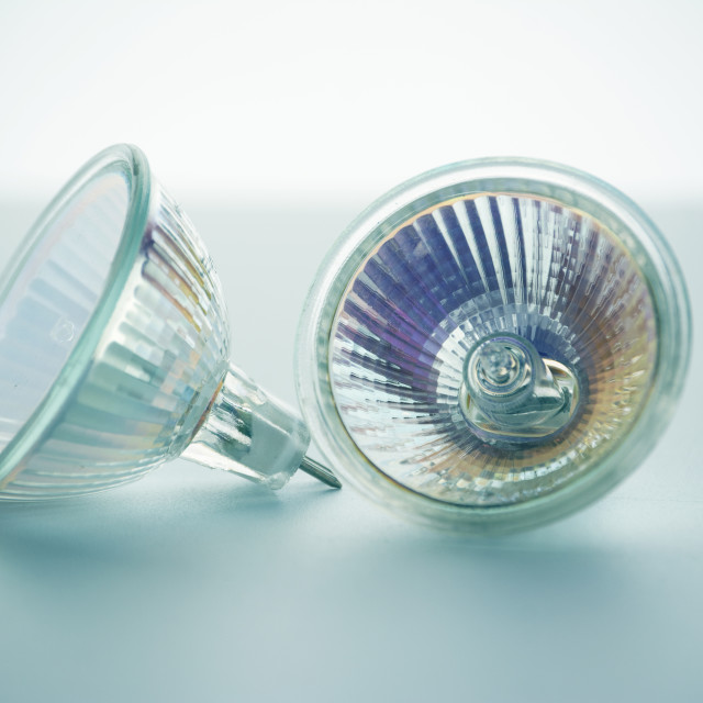 """""""two light-emitting diode lamps, in blue tone"""" stock image"""