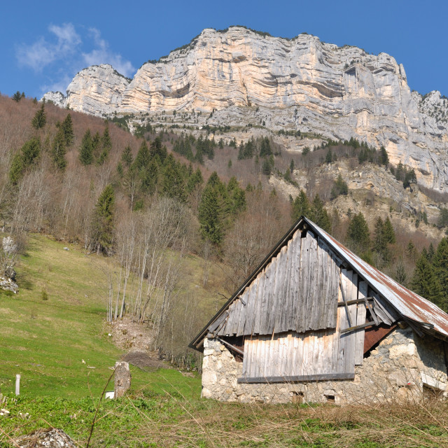 """""""barn in mountains"""" stock image"""