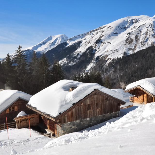 """chalets in the mountains"" stock image"