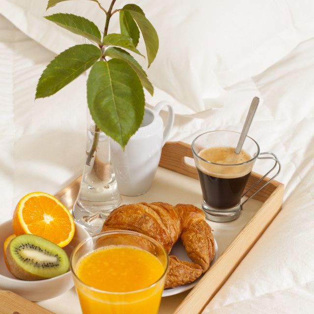 """Breakfast in bed"" stock image"
