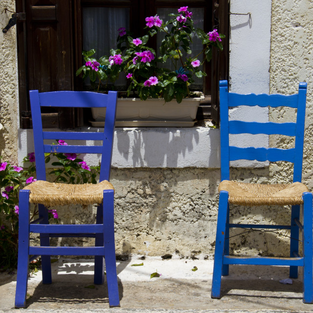 """Greek Chairs Stoupa"" stock image"