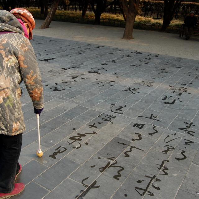 """Woman writes Chinese"" stock image"