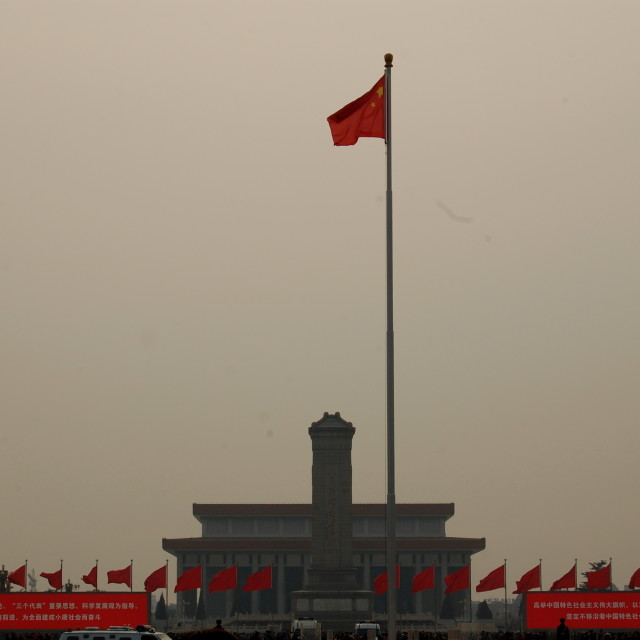 """""""Chinese flag in smog"""" stock image"""