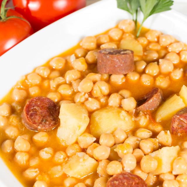 """Chickpeas with sausage"" stock image"