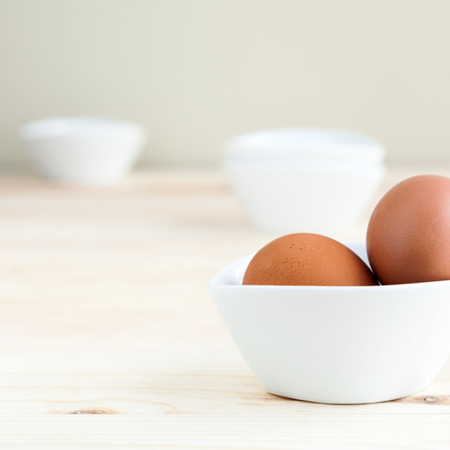 """Eggs on white plate"" stock image"