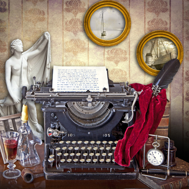 """""""Mixed styles and objects still life on the old typewriter desk"""" stock image"""