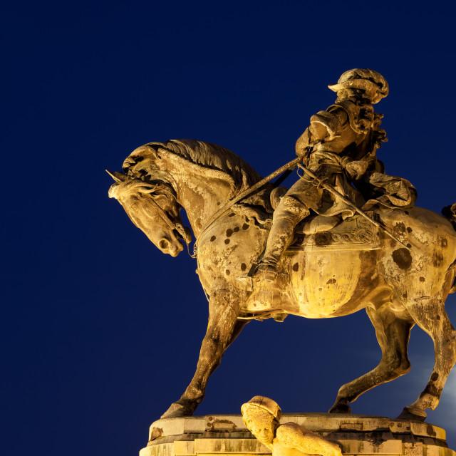 """Prince Eugene of Savoy Statue at Night"" stock image"
