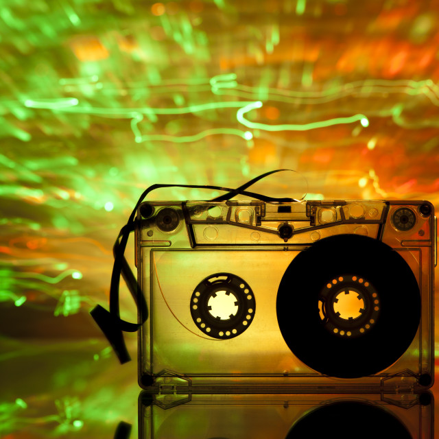 """Cassette tape and multicolored lights"" stock image"