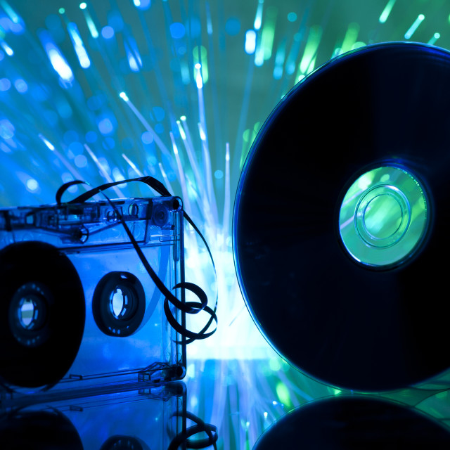 """""""Cassette tape and CD"""" stock image"""