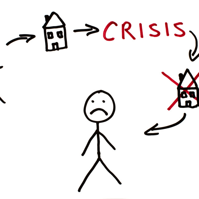 """Real estate and crisis conception illustration"" stock image"