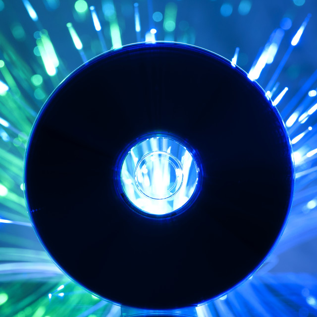 """""""Compact disc and Multicolored blue lights"""" stock image"""
