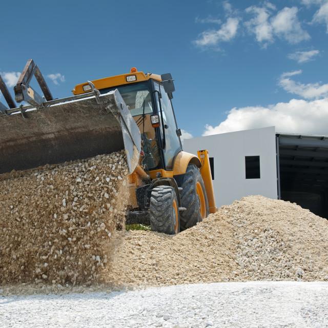 """Excavator unload gravel"" stock image"