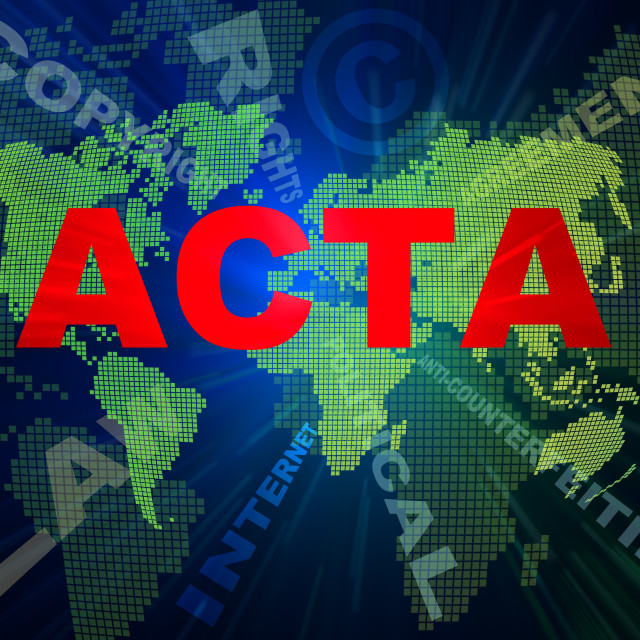 """""""ACTA conception texts and world map"""" stock image"""