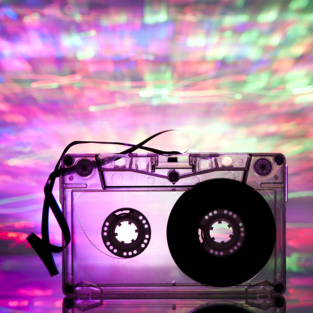 """""""Cassette tape and multicolored lights"""" stock image"""