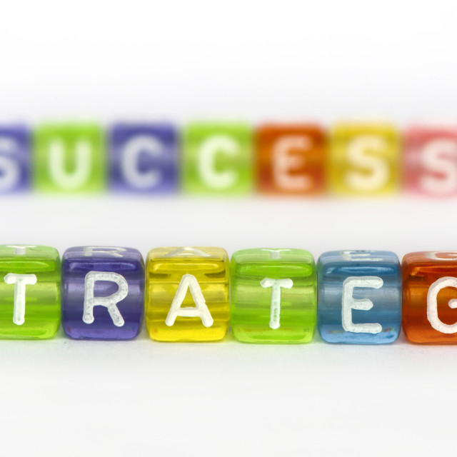"""Text Strategy and success on colorful cubes"" stock image"
