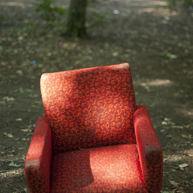 """Old armchair in the park"" stock image"