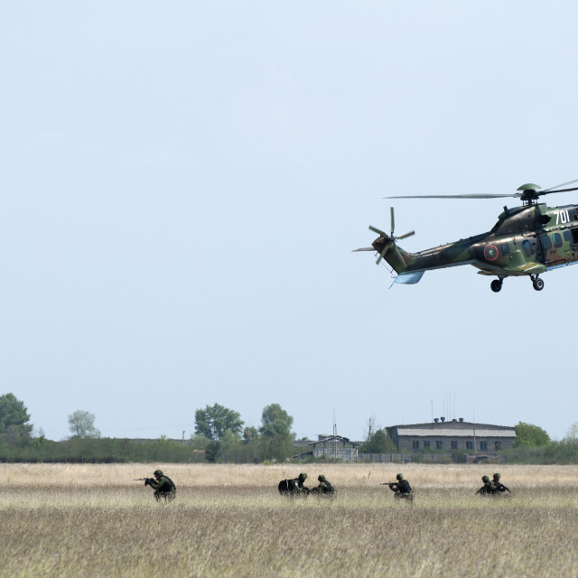 """Military operation with helicopters"" stock image"