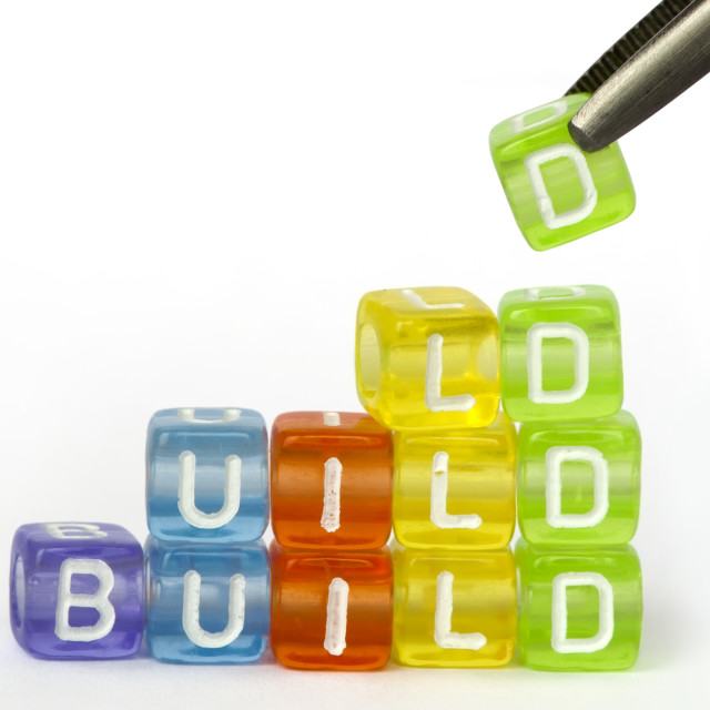 """Text build on colorful wooden cubes"" stock image"